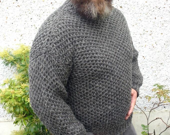 Authentic Irish Fisherman Sweater-FREE SHIPPING-dark gray-100% raw organic wool-dragon scale- undyed - unprocessed - Hand knitted in Ireland