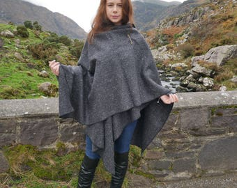 Irish tweed wool ruana, wrap , arisaid - black/ charcoal/ grey herringbone -100% wool -ready for shipping-Handmade in Ireland -FREE SHIPPING