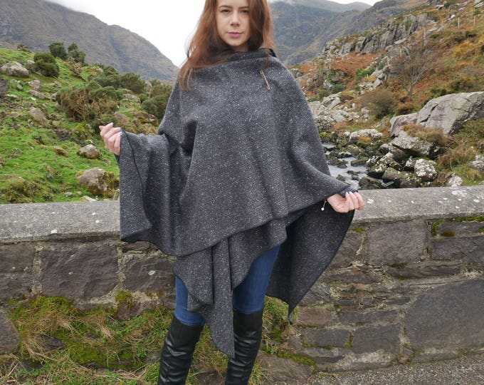Irish Donegal tweed wool ruana, wrap , arisaid - black/ charcoal/ grey HERRINGBONE -100% pure new wool - Handmade in IRELAND