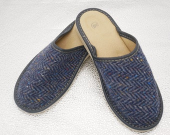 Womens Irish tweed & leather slippers - speckled navy/blue herringbone - MADE IN IRELAND