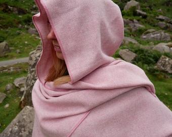 Irish tweed wool hooded ruana, wrap, arisaid - pink & white chevron - HANDMADE IN IRELAND