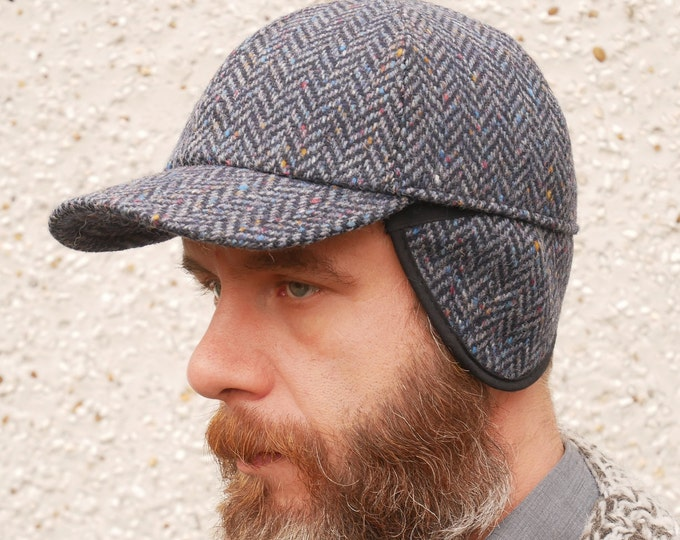 Irish tweed baseball cap- speckled navy/blue herringbone -with foldable ear flaps- 100% wool -padded- ready for shipping-HANDMADE IN IRELAND