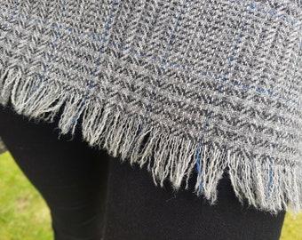 Irish tweed shawl, oversized scarf, stole - grey plaid, tartan, check - 100% wool - hand fringed - ready for shipping - HANDMADE IN IRELAND