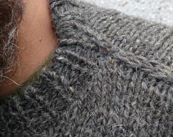 Irish Fisherman Sweater - dark gray - 100% raw organic wool - undyed - unprocessed - HAND KNITTED In IRELAND - ready for shipping