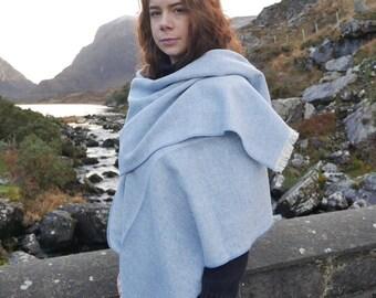 Irish tweed shawl,oversized scarf,stole-blue & white chevron- 100% wool -hand fringed -extra long - ready for shipping - HANDMADE IN IRELAND