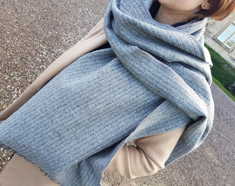Irish tweed shawl, oversized scarf, stole - speckled grey with stripes - 100% pure new wool - hand fringed - HANDMADE IN IRELAND