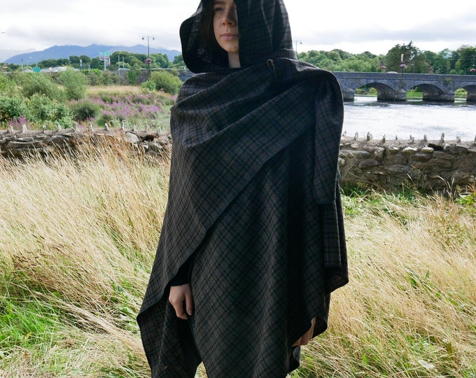 Irish lambswool tweed hooded ruana - hooded wrap - arisaid - grey/black/brown tartan - plaid- soft lambswool - HANDMADE IN IRELAND