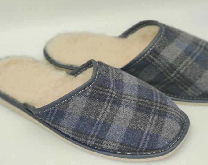 Irish Donegal tweed lined with undyed wool - hardened foam sole - grey/navy tartan/plaid check - ready for shipping - MADE IN IRELAND