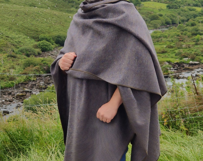 Irish tweed ruana, Celtic wrap, cape, cloak -grey/green/purple/navy mealange(salt and pepper) - 100% pure new wool - HANDMADE IN IRELAND
