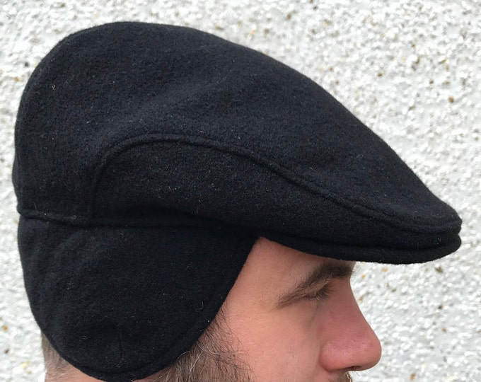 Traditional Irish Flat cap-FREE WORLDWIDE SHIPPING-black -Irish tweed - 100% wool -with ear flaps - ready for shipping - Handmade in Ireland