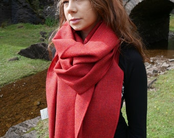 Irish tweed wool shawl, oversized scarf, stole - red -lightweight fabric - 100% wool -hand fringed- ready for shipping - HANDMADE IN IRELAND