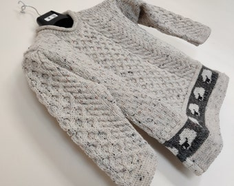 Kids Irish Aran sweater - 100% Pure New Wool - roll neck - cream with fleck - really warm and chunky - MADE IN IRELAND