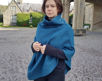Irish tweed wool turtleneck poncho - 100% pure new wool - very warm - speckled dark teal with stripes - HANDMADE IN IRELAND