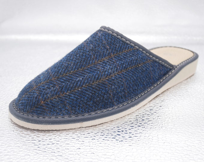 Womens Irish tweed & leather slippers - navy/blue with orange overcheck - MADE IN IRELAND