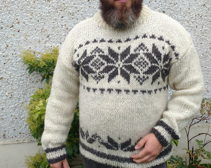 Authentic Irish hand knitted sweater-FREE WORLDWIDE SHIPPING-white & gray -100% raw organic wool -undyed-unprocessed-Hand knitted in Ireland