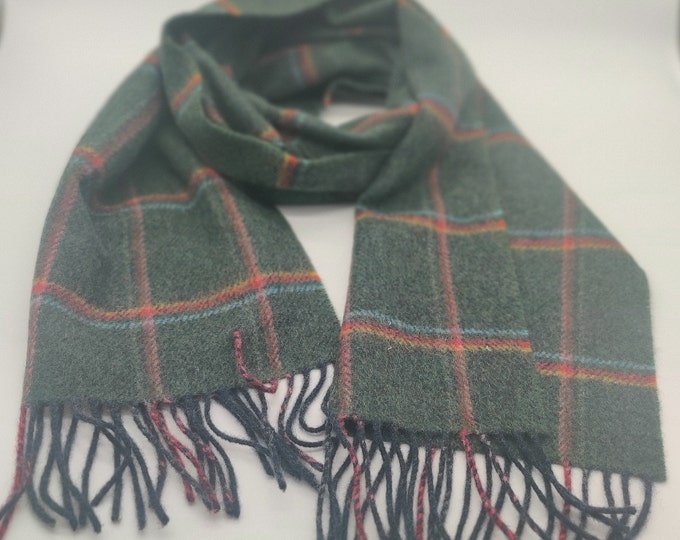 Irish Soft Lambswool scarf - 100% Pure New Wool - green/blue/red/yellow - tartan/plaid check - very soft - unisex - HANDMADE IN IRELAND