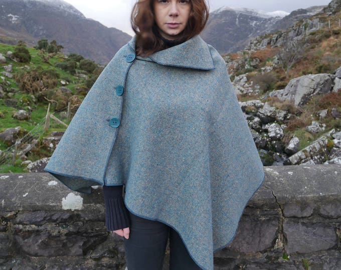 Versatile 3in1-Irish tweed poncho, cape & shawl - turquoise / grey - 100% wool - ready for shipping - Handmade in Ireland