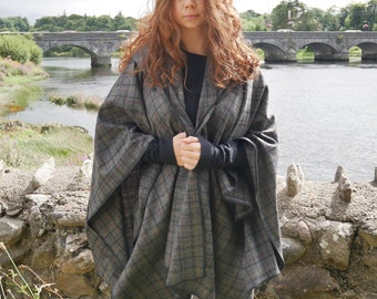 Irish lambswool tweed hooded ruana - hooded wrap - arisaid - grey/black/burgundy/beige tartan - plaid- soft lambswool - HANDMADE IN IRELAND