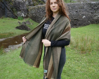 Irish tweed shawl,oversized scarf,stole-green/brown/beige stripes-100% wool-hand fringed-woven wool-ready for shipping - HANDMADE IN IRELAND