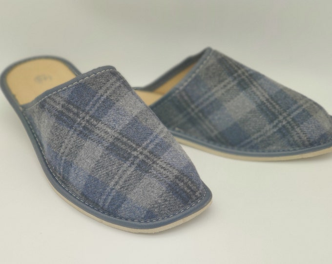 Irish Donegal tweed & genuine leather slippers - hardened foam sole - grey/navy tartan/plaid check - ready for shipping - MADE IN IRELAND