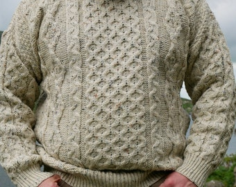Traditional Aran Sweater - 100% pure new wool - cream with multicolour flecks - chunky&heavy - MADE IN IRELAND