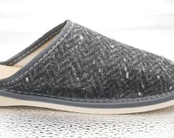 Womens Irish tweed & leather slippers - speckled black/charcoal/grey herringbone - MADE IN IRELAND