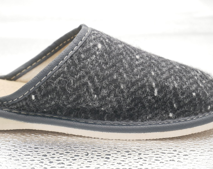 Womens Irish tweed & leather slippers - speckled black/charcoal/grey herringbone - MADE IN IRELAND