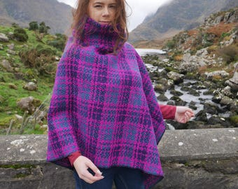 Irish tweed poncho/cape with turtleneck -100% wool-pink purple/navy/ocean blue-heavy&warm-ready 4 shipping-Handmade in Ireland-FREE SHIPPING