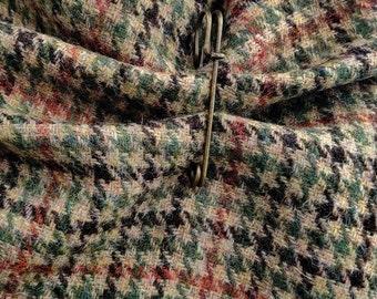 Irish tweed ruana wrap, cape, cloak, arisaid - beige/green/black/burnt orange houndstooth check - 100% pure new wool - HANDMADE IN IRELAND