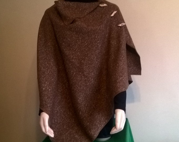 3in1 - Irish tweed wool cape, poncho & shawl - brown melange - 100% wool -  ready for shipping - heavy tweed - HANDMADE IN IRELAND