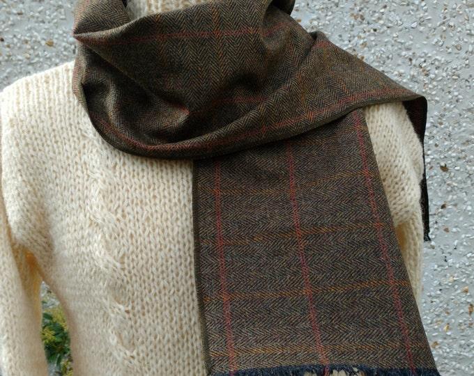 Irish tweed scarf-FREE SHIPPING- 100% wool-green/black herringbone/orange&red overcheck- neckerchief - neckcloth -Handmade in Ireland