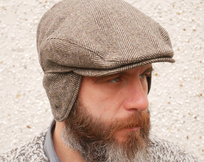 Traditional Irish tweed flat cap - brown herringbone - with foldable ear flaps 100% wool - padded - HANDMADE IN IRELAND