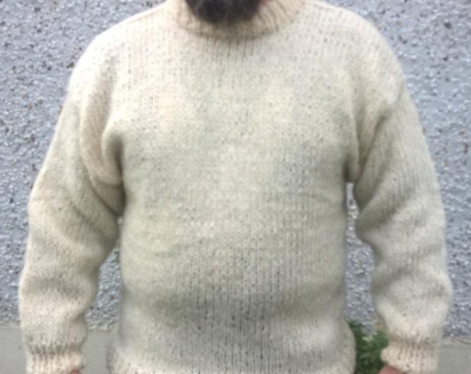 Authentic Irish Fisherman Sweater - white/cream - 100% raw organic wool - undyed - unprocessed- HANDSPOON WOOL -Hand knitted in Ireland