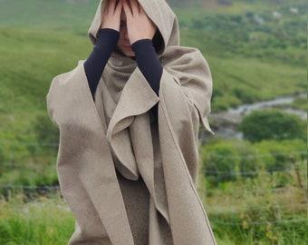 Irish woven wool hooded ruana wrap. cape, cloak, arisaid - pale herringbone - HANDMADE IN IRELAND