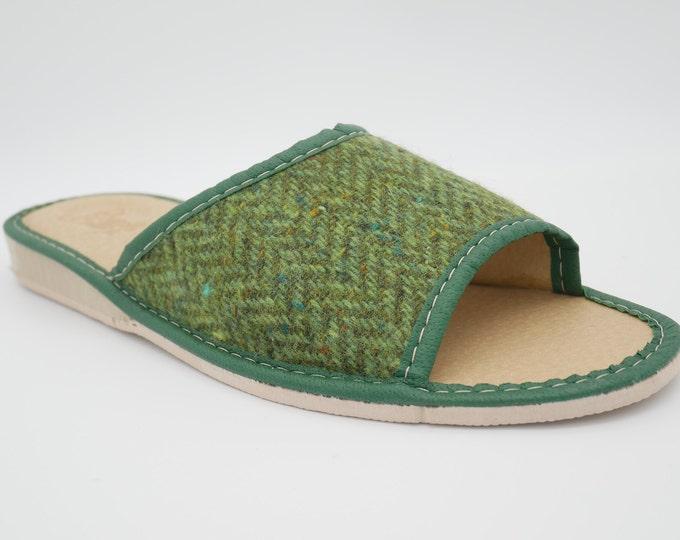 Womens Irish tweed & leather slippers -  open toes -  green herringbone - house shoes - HANDMADE IN IRELAND