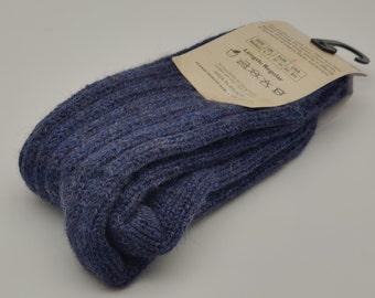 Irish organic thick wool socks - Snug socks in 100% pure new organic wool from Irish sheep - hiking socks - denim - MADE IN IRELAND