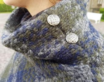 Irish woven wool turtleneck poncho - 100% pure new wool - green / blue / grey tartan, plaid check - HANDMADE IN IRELAND