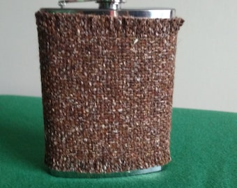 Irish tweed 8oz hip flask cover-FREE WORLDWIDE SHIPPING- groom gift, best man, father of bride- made by me! - Handmade in Ireland