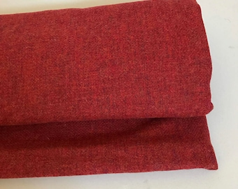 Irish tweed 100% wool fabric-FREE WORLDWIDE SHIPPING -red - solid -12/13ozs, 390gms - price per metre - ready for shipping - Made in Ireland