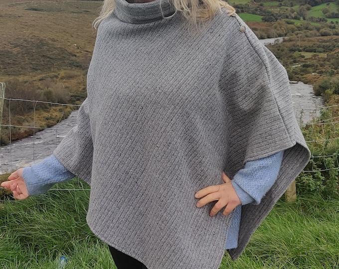 Irish tweed wool turtleneck poncho - 100% pure new wool - striped grey- very warm - ready for shipping - HANDMADE IN IRELAND