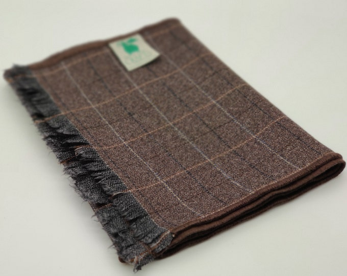 Irish lambswool scarf - 100% pure new wool - brown with beige/black check - really soft - perfect gift - HANDMADE IN IRELAND