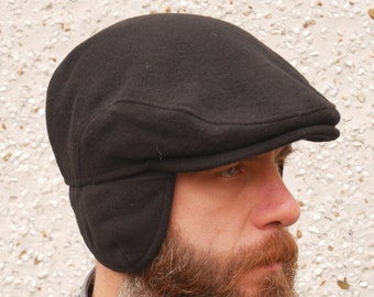 Traditional Irish tweed flat cap with optional/foldable ear flaps - black - 100% wool - padded - HANDMADE IN IRELAND