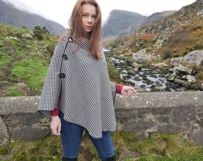 3in1-Irish tweed wool poncho,cape&shawl-black and white houndstooth- diamond shape -ready for shipping - Handmade in Ireland - FREE SHIPPING