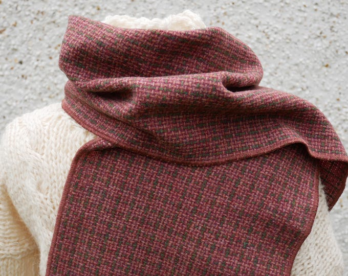 Irish tweed wool scarf -100% pure new wool- rose/green check  - hand fringed -ready for shipping - unisex - Handmade in Ireland