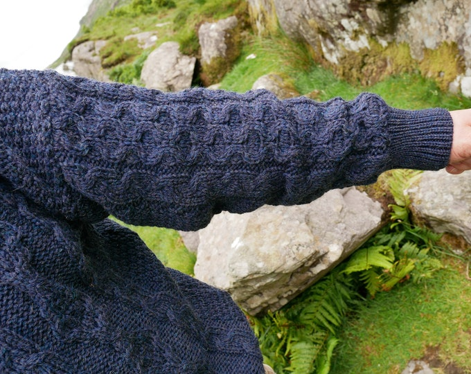 Traditional Aran Sweater - 100% pure new wool - navy - chunky&heavy - MADE IN IRELAND