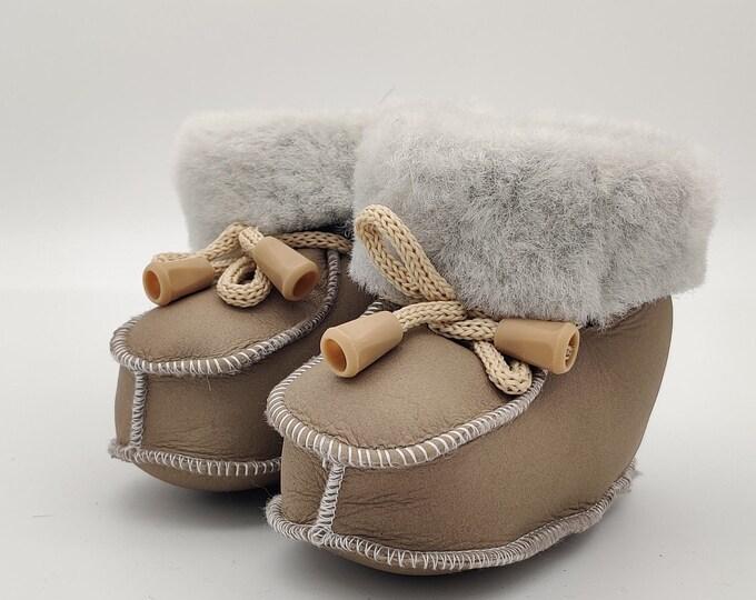 Baby booties - 100% sheepskin - cute and adorable- unisex - HANDMADE IN IRELAND