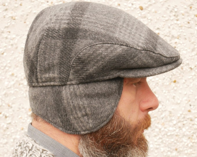 Traditional Irish tweed flat cap -grey/charcoal tartan/plaid check -with foldable/optional ear flaps -100% wool -padded -HANDMADE IN IRELAND