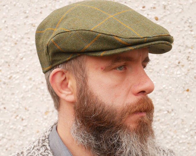 Traditional Irish tweed flat cap - green with yellow check - 100% wool -padded - ready for shipping - HANDMADE IN IRELAND