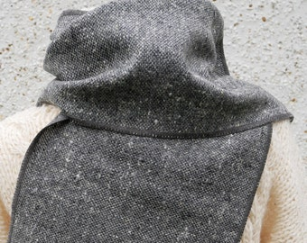 Irish tweed wool scarf -100% pure new wool- grey mix - hand fringed - unisex - HANDMADE IN IRELAND