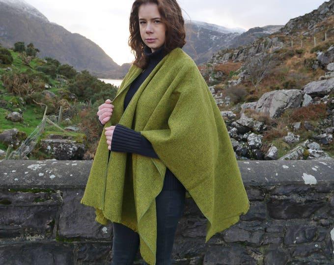 Irish tweed wool ruana, wrap, cape, coat, arisaid- lime green / grey - 100% wool - ready for shipping - HANDMADE IN IRELAND
